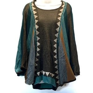 LOVE STITCH Tribal Dolman Sleeve Poncho Sweater M